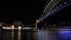 Sydney Harbour Bridge Australia Night  City Landscape establishing shot Stock Footage