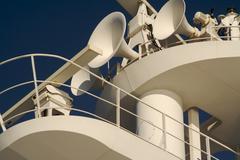 Ea. Cruise ship radar and signaling equipment. Stock Photos
