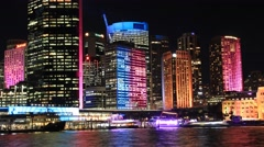Sydney City Building Skyline Landscape Night Timelapse establishing shot Stock Footage