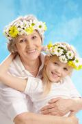 Granny and grandddaughter Stock Photos