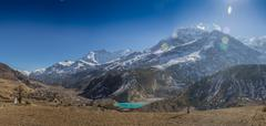 Annapurna South peack in the Nepal Himalaya - stock photo