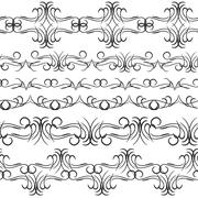 Vintage border design elements, black on white background.  Seamless pattern for Stock Illustration