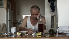 Alcoholic Man Suffering Drug Effects of Alcoholism and Depression - stock footage
