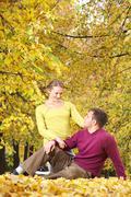 In autumn park - stock photo