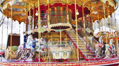 Carousel Merry Go Round Park Attraction 4K UHD - stock footage