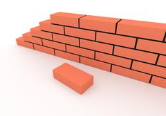 Part of brick wall. Concept of building and construction Stock Illustration