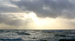 Waves of the Atlantic Ocean with dark clouds Stock Footage