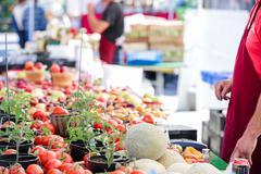 Summer farmers market on Main Street in Parker, Colorado. Stock Photos