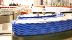 Factory Bottles Belt Conveyor 4K UHD Stock Footage