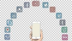 Social Media Icons, Cell Phone Concept / Alpha Channel Stock Footage