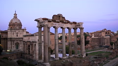 The Roman Forum Rome Italy at Dusk, 4K Stock Video Footage Stock Footage