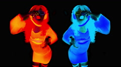 4k glow uv neon sexy disco female cyber doll robot electronic toy Stock Footage