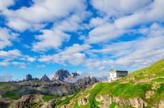 Auronzo shelter near Tre Cime, Dolomites, Italy - stock photo