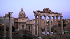 The Roman Forum in Rome Italy Dusk, 4K Stock Video Footage Stock Footage