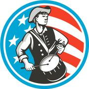 American Patriot Drummer USA Flag Circle Retro Stock Illustration