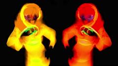 4k glow uv neon sexy disco female cyber doll robot electronic toy Stock Footage