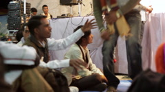 Smiling men at festival, India,  medium shot Stock Footage
