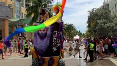 Floats at the 7th annual Parade of the Miami Beach Gay Pride Festival. Stock Footage