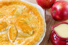 Apple pie and custard Stock Photos