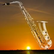 Abstract night background with city and saxophone Piirros