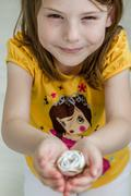 Little Girl Working on Diy Project - stock photo