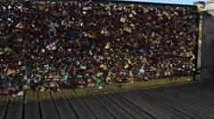 Love Locks Pont Des Arts Bridge in Paris, France 4K Stock Video Footage Stock Footage