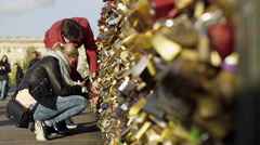 Love Locks Pont Des Arts Bridge in Paris, France 4K Stock Video Footage - stock footage