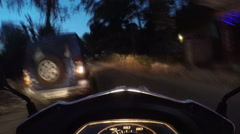 Road view during a motorbike ride in Mumbai in night time, timelapse. Stock Footage