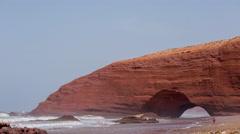 4k legzira cliff sea ocean morocco wild environment nature Stock Footage