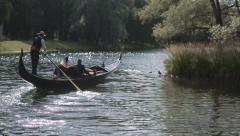 Wedding Couple is Floating on a Gondola Stock Footage