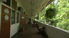 Walking in a long balcony in Port-au-Prince - stock footage