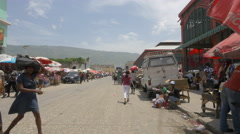 Food market on the street in Haiti - stock footage