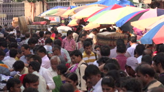 People visit a busy market in Mumbai Stock Footage