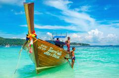 Longtail boat on Andaman Sea,Thailand Stock Photos