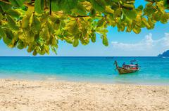 Traditional thai longtail boat and beach,Thailand Stock Photos