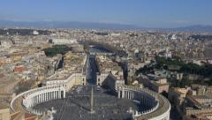 St. Peter's square view from the dome of St. Peter Basilica Rome Italy 4k aerial - stock footage