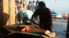 Stock Video Footage of Sri Lankan fishermen doing gutting of the fish on the fish market