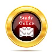 Stock Illustration of Study online icon. Internet button on white background..