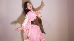 japan kimono dancer erotic sexy gogo cabaret 4k - stock footage