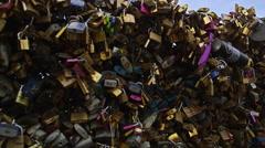 Love Locks Bridge Notre Dame Cathedral in Paris, France 4K Stock Video Footage Stock Footage