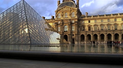 Paris France The Louvre Museum 4K Stock Video Footage - stock footage