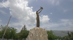 The statue of the Unknown Maroon in Haiti Stock Footage