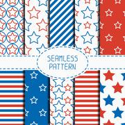 Set of geometric patriotic seamless pattern with red, white, blue stars - stock illustration