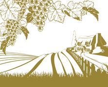 Vineyard rolling hills scene Stock Illustration