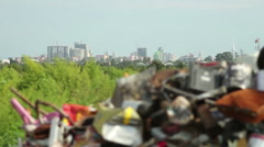 Garbage dump with Batumi city view on background, Georgia. Pollution concept - stock footage