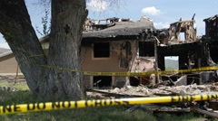 House after a big fire - stock footage
