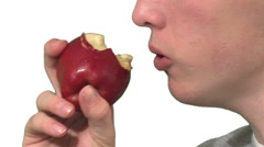 Gluttony concept. Rapidly eating food. Stock Footage