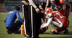 Close-up Of A American Football Player With Injury In Leg On Field Stock Footage
