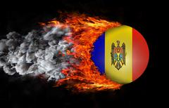 Stock Illustration of Flag with a trail of fire and smoke - Moldova