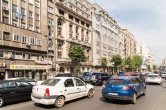 Rush Hour Traffic In Downtown Roman Square - stock photo